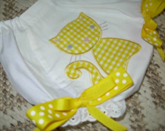 Yellow Gingham Cat Bloomers