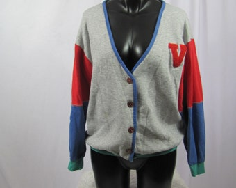 Cute Vintage 90s Womens Varsity Cardigan Sweater