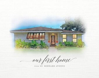 Custom Home Illustration, House Illustration, Home Portrait, Closing Gift, Real Estate, Realtor, Housewarming Gift, Home Watercolor