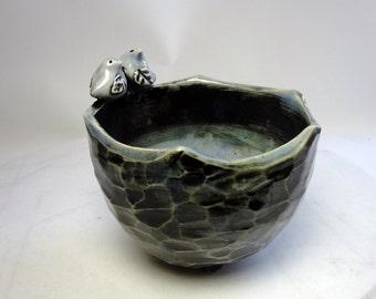 Love Bird Bowl - Blue Trinket Bowl - Food Safe - Candy Dish - Wheel Thrown Pottery - Carved Pottery - Royal Blue - Microwave Safe