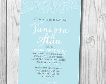 CUSTOM Instant Printable Invitation - DIY CUSTOM Printable waves wedding invitation