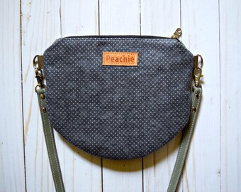 Ready to ship grey crossbody purse, round crossbody bag, cute crossbody purse, small crossbody bag, grey purse, zipper crossbody bag