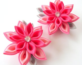Kanzashi  Fabric Flowers. Set of 2 hair clips.