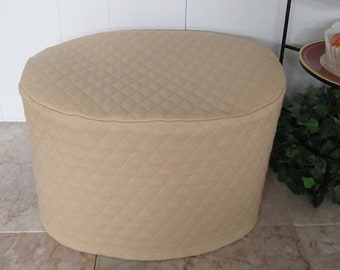 Khaki Oval Crock Pot Cover Quilted Fabric Kitchen Small Appliance Covers Made to Order