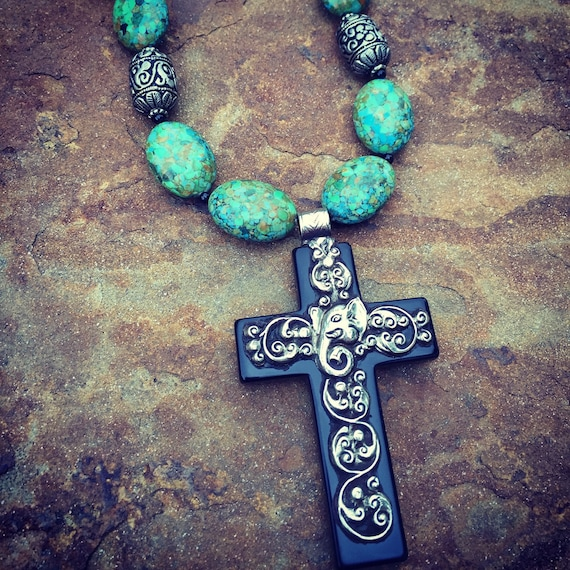 Mosaic Turquoise with Huge Nepalese Cross Statement Necklace and Earring Set