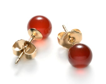 Natural Carnelian, Quality red-orange Carnelian earrings, Carnelian studs, Avaliable in 6 mm & 8 mm size, Gold-Filled posts and earbacks