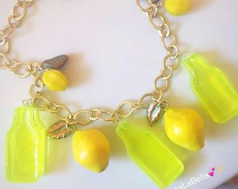 Lemon Necklace, Fruit Salad Necklace, Lemonade Necklace, Vintage Style, Retro Style Necklace, Pinup Necklace, Resin Jewelry, Plastic Jewelry