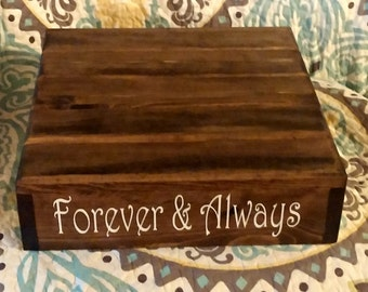 """Rustic Cake Stand, Wedding Cake Stand, """"Forever & Always"""" vinyl message, Reclaimed wood, Rustic wedding"""