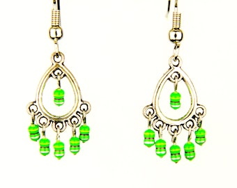 Teardrop Earrings with Small Green Resistors