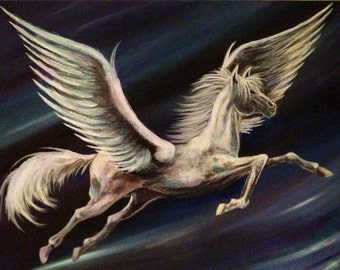 "Fantasy Art - Pegasus - Mythology - White Horse - Winged Horse - Giclee Canvas Print - ""Pegasus"""