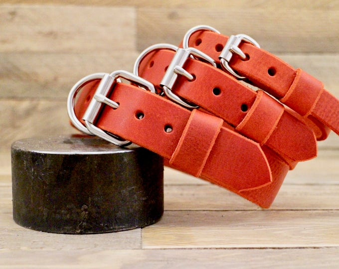 Handmade dog collar, FREE ID TAG, Cayenne collar, leather collar, Sturdy cow leather collar, Gift, Distressed, Rustic collar, Collar.