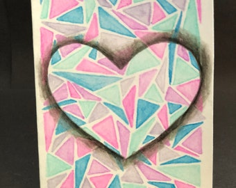 Petite Folded Notecards - Geometric Heart
