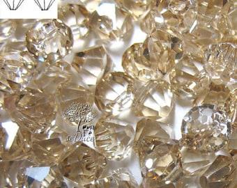 12 Swarovski 6301 Top drill Bicone Crystal Golden Shadow 6mm Crystal Beads