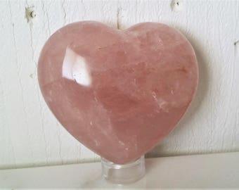 Dark Rose Quartz Crystal Heart Pink Quartz Heart Shaped Healing Crystals | Healing Stones | Rocks and Minerals 1171