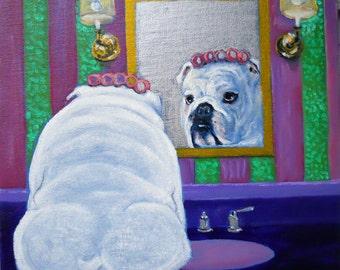 "English Bulldog Art Print of an original oil painting/""Mirror, Mirror, OMG""/ 8 x 8 square / Dog art"