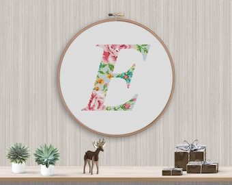 """BOGO FREE! Letter Cross Stitch Pattern, Floral Big Letter """"E"""" Silhouette Flower Counted xStitch, Modern Decor PDF Instant Download #025-18-3"""