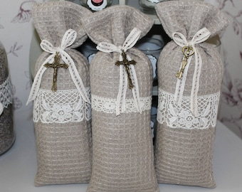Bag of lavender religious cross or key honeycomb design linen and lace.