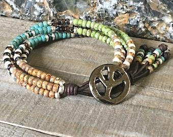 ORIGINAL DESIGNER Seed Bead Leather Wrap Bracelet For Women/ Beaded Wrap Bracelet/ Gifts For Her/ Bohemian Bracelet/ Boho Wrap Bracelet.