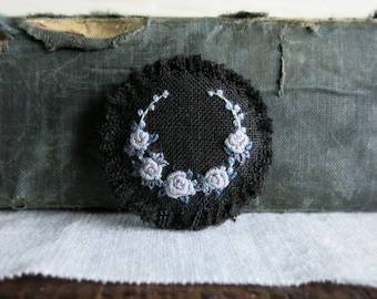 Floral Embroidered Brooch - Gray Roses on Black Linen Textile Art Brooch