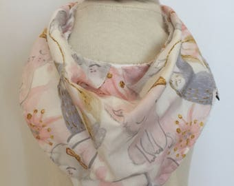 custom bandana bib ~ pink and gray sloth ~ drool bib ~ chic couture ~ baby accessories ~ custom made bandana bib from lillybelle designs