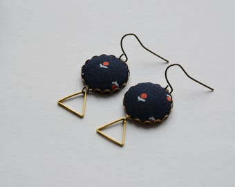 Round and triangle earrings and liberty fabric