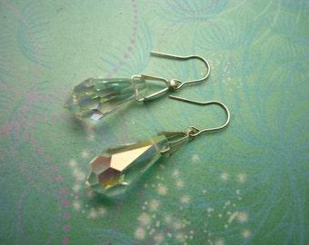 Vintage Earrings - Crystal Drop Earrings - Sterling Silver Earrings - Dangle Earrings - Crystal Earrings - Wedding Earrings - Bridal Earring