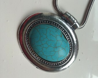 Ethnic Style Turkish Necklace, Silver and Turquoise.