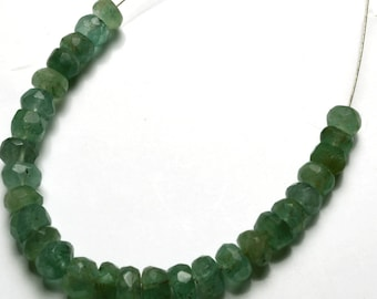 Natural 3.5 Inches Stands AAAA Gems Quality 100%  Natural Emerald  Transparent Faceted Roundels Beads  4 TO 5 MM size