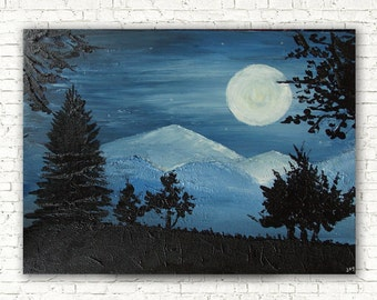 NEW! PHOSPHORESCENT paint, landscape art canvas, original painting