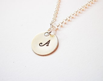Initial Necklace - personalized necklace, one disc Silver necklace, engraved monogrammed necklace, hand stamped necklace, one initial, 1