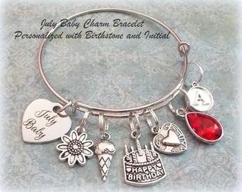 Happy Birthday Charm Bracelet, July Birthstone Jewelry, Gift for July Birthday, Personalized for Her, Personalized Jewelry, Birthday for Her