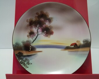 Vintage Noritake Hand Painted Cottage on a Lake Plate