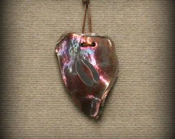 Raku, Raku Pottery, Wall Art, Raku Wall Art with Deer Hoofprint in Metallic and Iridescent Colors