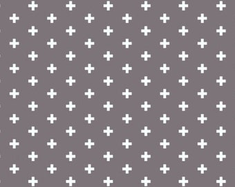 Plus fabric in dark gray - Dear Stella Ash Positive cotton fabric