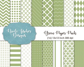 Green Patterned Paper Pack -INSTANT DOWNLOAD