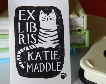 Striped Cat Bookplate Stamp on Olive Wood