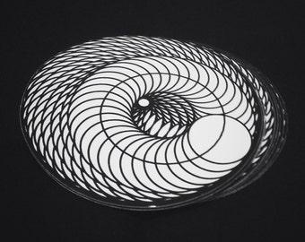 Infinite Spiral Sacred Geometry Sticker 3x3 Vinyl Circle Black & White Art Decal