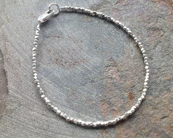 Fine Silver Faceted Cube Bracelet