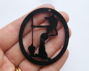 1 Witch pendant black acrylic tone HC267