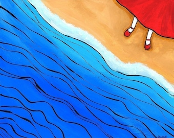 Red Shoes at the Beach Shelagh Duffett print