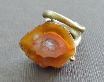 Raw Agate Bronze Ring Primitive Modern Game of Thrones Statement Cocktail Ring amber honey orange crystalline