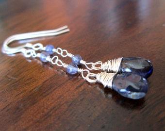 Sterling Iolite Earrings, Wire Wrapped Dangle Earrings