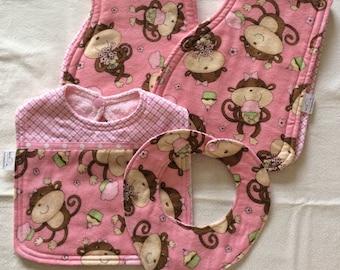 Burp Cloths, Bib, & Binky Bib Layette Set in Pink - Baby Girl Monkey Themed, Baby girl gift, Baby layette