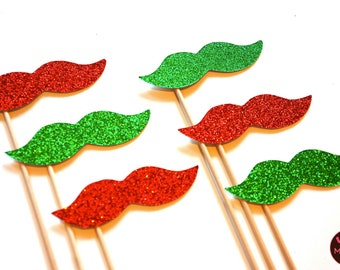 Photo Booth Props  - Christmas Mustaches on a Stick - Set of 6 - Red and Green Christmas Props - funny Christmas card