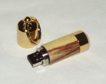 Flash Drive Key Ring, 16GB, Caragana Wood