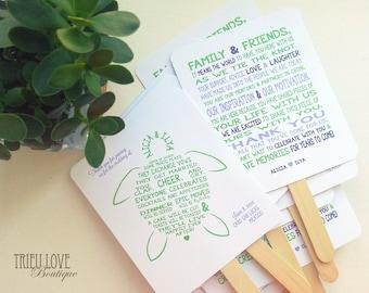 Sea Turtle | Seaside | Beachside Wedding Ceremony Program Fan - Fully Customizable Wording & Ready-to-DIY Kit (QTY 30+)