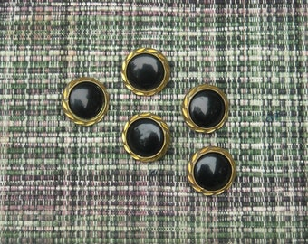 Vintage Buttons, FREE SHIPPING, Sewing Supply, Sewing Supplies Destash, Destash Buttons, Black and Gold Antique Buttons, Black Buttons