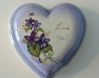 Ceramic Heart jewelry trinket box