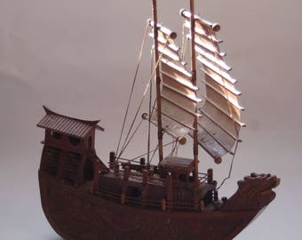Hand Carved Wooden Ship