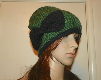 Slouchy Olive Green Hat with a Black Bow